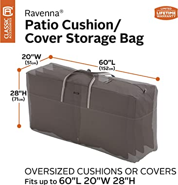 Classic Accessories Ravenna Water-Resistant 60 Inch Patio Cushion and Cover Storage Bag