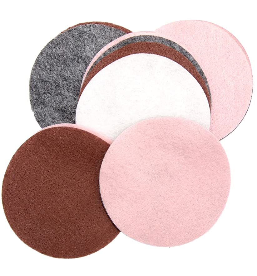 Playfully Ever After 5 Inch 16pc Felt Circles Color Combo Pack with Light Pink, Charcoal Gray, White, Cocoa Brown