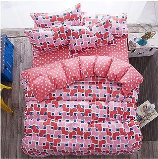 Little cute shop Juego de Ropa de Cama con diseño de piña Rosa de 3/4 Piezas con patrón de Flores, Funda de edredón y Fund...
