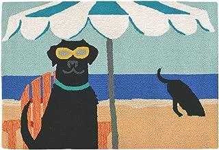 Liora Manne FTP12159004 Frontporch Front Porch Dog Dig In The Beach Ocean Indoor/Outdoor Rug, 20