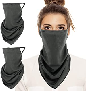 MoKo Scarf Mask Bandana with Ear Loops 3 Pack, Neck Gaiter Balaclava UV Sun Protection Face Mask for Dust Wind Outdoors Mo...