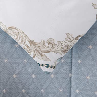 Shatex King Comforter All Season Blue Floral Pattern Comforter Printed Bedding Comforters
