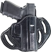 Open Top Belt OWB Leather Holster for FN FNS 9 Compact. Three Slot Pancake Outside The Waistband Holster.