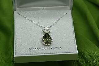 Maureen O'Hara Irish Jewelry Silver Plated Shamrock Pendant By Tipperary Crystal From Ireland