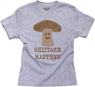 Shiitake Happens Mushroom Graphic Funny Play On Words Youth Size T-Shirt