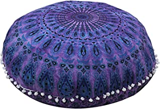 Beautiful Purple Mirchi Floor Pillow Cushion Seating Cover Hippie Hippie Decorative Cover Size 32 Round Pouf Cover