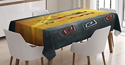 Ambesonne African Tablecloth, African People Carrying Some Local Elements on Their Heads Retro Drawing Style, Dining Room Kitchen Rectangular Table Cover, 52 W X 70 L Inches, Black Grey