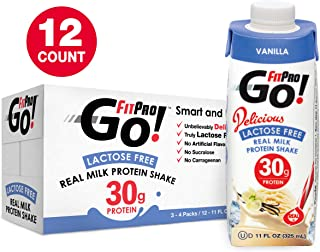 FitPro Go! Real Milk Protein Shake, Vanilla, 11 Ounce (Pack of 12 - 3, 4 Packs)