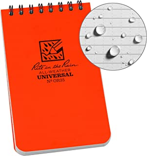 """Rite in the Rain Weatherproof Top Spiral Notebook, 3"""" x 5"""", Orange Cover, Universal Pattern (No. OR35)"""