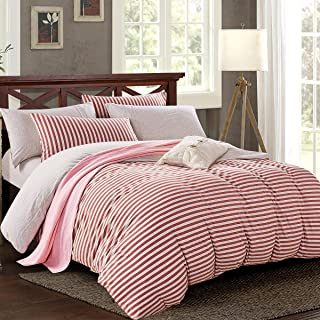 PURE ERA Striped Duvet Cover Set Jersey Knit Cotton Soft Comfortable Breathable 3 Piece Reversible Home Bedding Sets 1 Duvet Cover and 2 Pillow Shams Red Grey King