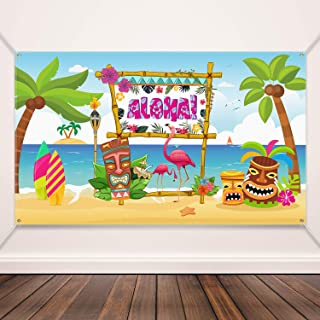 Hawaiian Aloha Party Decoration Supplies Beach Backdrop Party Aloha Banner Aloha Party Banner Aloha Luau Party Photo Booth Backdrop Background Banner for Luau Party Decorations, 72.8 x 43.3 Inch