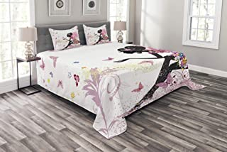 Ambesonne Fashion Bedspread, Fairy Girl with Wings in a Floral Dress Fantasy Garden Flying Butterflies, Decorative Quilted 3 Piece Coverlet Set with 2 Pillow Shams, Queen Size, Pink White