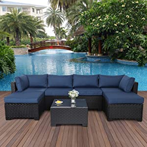 7 Pieces Outdoor PE Wicker Furniture Set Patio Rattan Sectional Conversation Sofa Set with Navy Blue Cushions and Glass Top Table