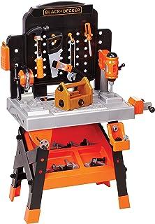 کارگاه Workbench Power Workshop سیاه و سفید + Decker Junior با چراغ های فعال واقع گرایانه - 75 ابزار و لوازم جانبی [Amazon Exclusive]