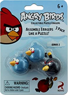 Angry Birds Collectible Puzzle Erasers (2 Blue Birds and 1 Black Bird) - Angry Birds Erasers