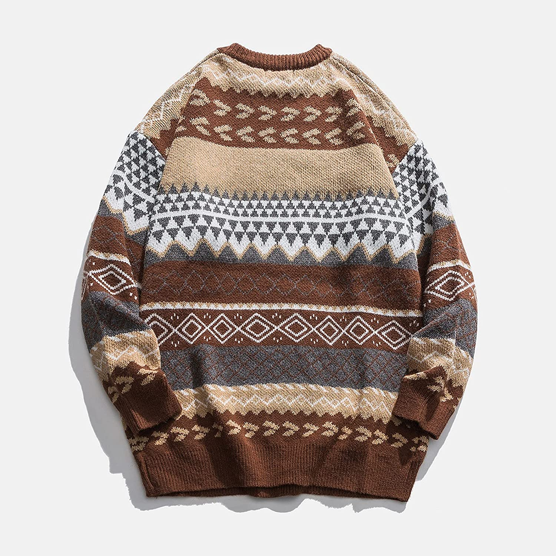 Arystk Women Autumn Winter Vintage Striped Sweater Pullover Knit Sweater Tunic Top Blouse Pullover Sweatshirt