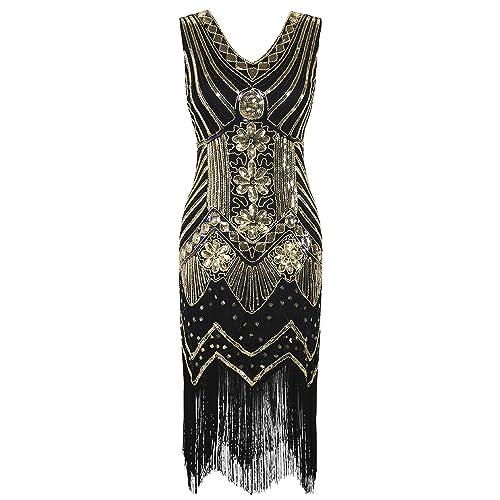 493f448613636 PrettyGuide Women 1920s Dress V Neck Beaded Sequin Deco Gatsby Inspired Flapper  Dress