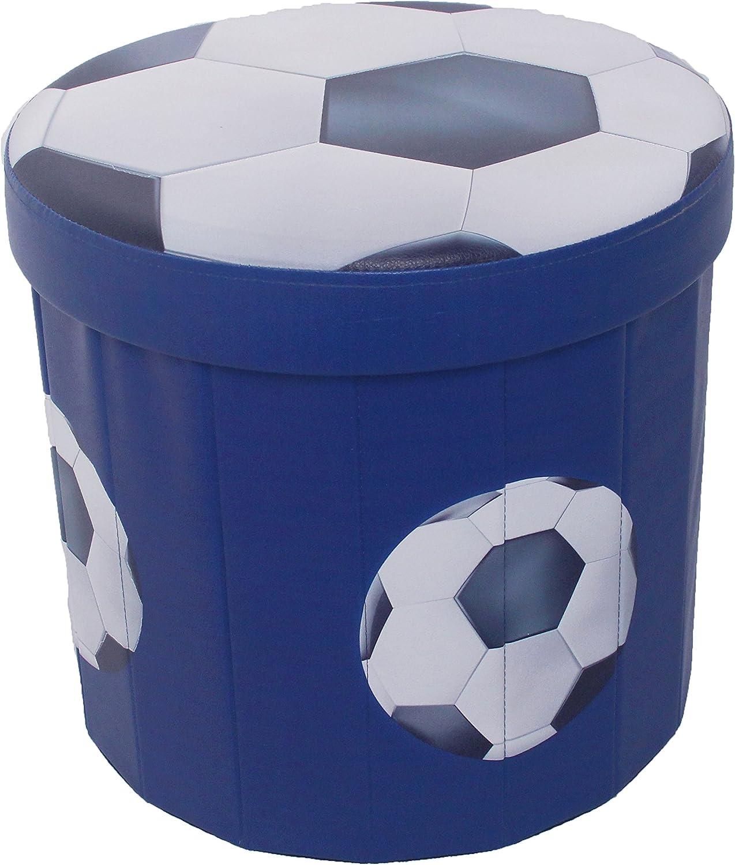 Football Blue Football Boys Folding Storage Ottoman Seat Toy Box Stool Foot Rest