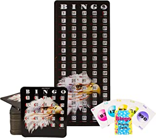 MR CHIPS Stars & Stripes Bingo Cards with Sliding Windows, 25 Slide Bingo Cards, 75 Bingo Calling Cards, 1 Bingo Master Board