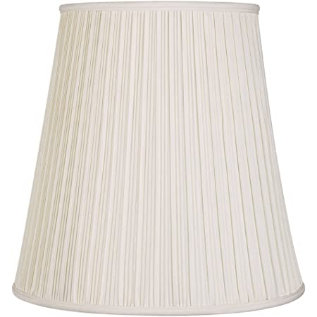 """Creme Mushroom Pleat Large Lamp Shade 12"""" Top x 18"""" Bottom x 18"""" Slant x 17.75"""" High (Spider) Replacement with Harp and Finial - Springcrest"""