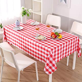 Asvert Nappe de Table Rectangulaire Carreaux Toile Antitaches Tissu Vichy pour Restaurant Salle à Manger, Rouge (140x220cm)