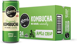 Remedy Raw Organic Kombucha Tea - Sparkling Live Cultured Drink - Sugar Free Apple Crisp - 24 250ml Can Case