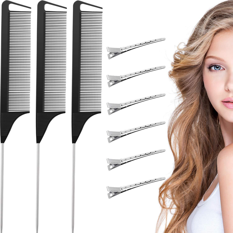 3 Pieces Rat Tail Hair Comb Pintail Comb Carbon Fiber Teasing Co