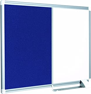 """MasterVision Combination Board, Magnetic Dry Erase Whiteboard and Blue Felt Bulletin Board, 18"""" x 24"""", with Aluminum Frame and Pen Tray"""
