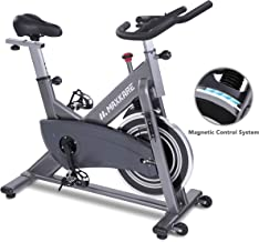 Maxkare Magnetic Exercise Bike Belt Drive Stationary Indoor Cycling Bike with High Weight Capacity Adjustable Magnetic Resistance w/Tablet Holder (Gray)