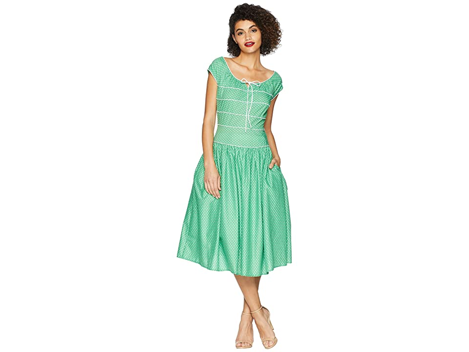 Unique Vintage Jeanie Swing Dress (Green/White Dot) Women