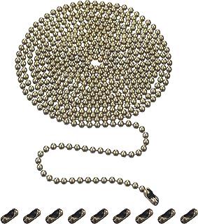 Shappy 3,2 mm de Diámetro Extensión de Cadena de Tirar de Abalorios con Conector, 10 Pies de Cadena de Rodillo con Cuentas con 10 Conectores Correspondientes (Bronce B)