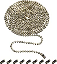 Shappy Beaded Pull Chain Extension with Connector, 10 Feet Beaded Roller Chain with 10 Matching Connectors (3.2 mm, Bronze B)