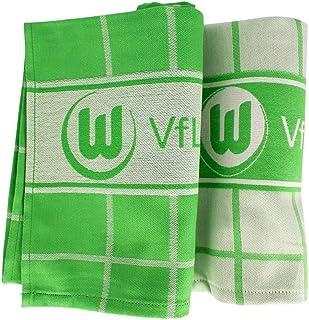 VfL Wolfsburg Geschirrtücher 2er Set Tuch - Plus Lesezeichen Wir lieben Fußball