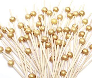 Cocktail Picks 100 Counts Handmade Sticks Wooden Toothpicks Cocktail Sticks Party Supplies - Matt Gold Pearl