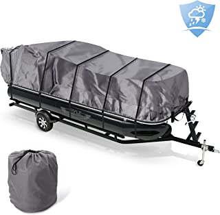 Pyle PCVHP660 Storage Boat Pontoon Cover Waterproof Weather Resistant Damage Protection Marine Grade Canvas for 17' to 20' Trailer