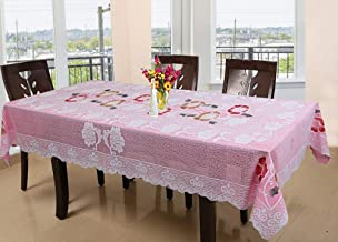 Kuber Industries Floral Cotton 6 Seater Dinning Table Cover - Pink (CTKTC03518)