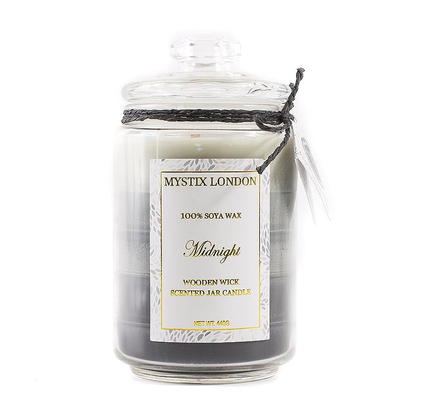 見えるケント福祉Mystix London Midnight Wooden Wick Scented Jar Candle 440g