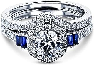 Kobelli 1 3/4 Carat Hexagon Halo Blue and White Bridal Set 14k Gold (DEF/VS, HI/I2)