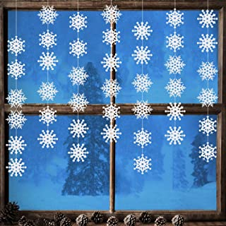 Jovitec 10 Strings of Snowflake Hanging Ornaments White Snowflake Garland Christmas Snowflake Banner Decorations Wonderland Ornaments Winter Frozen Birthday Party Supplies