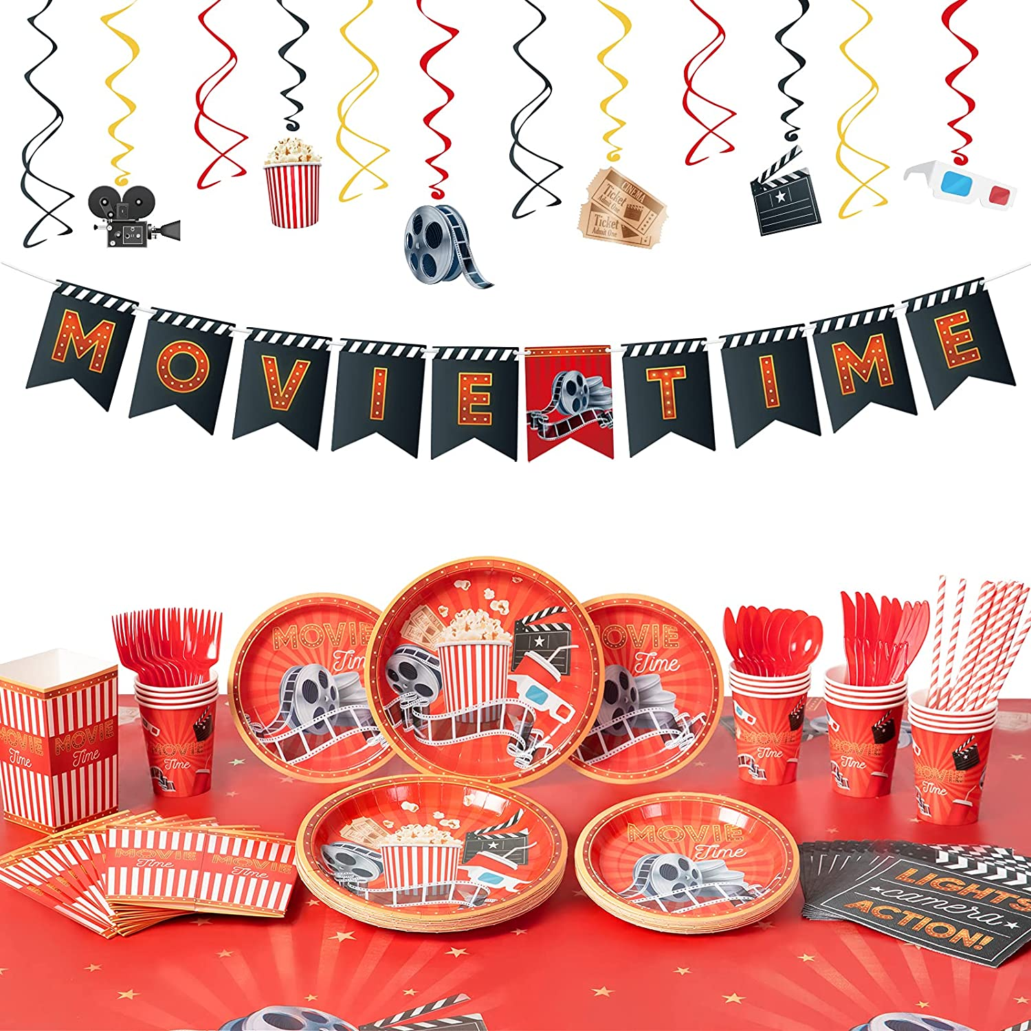 Decorlife Movie Theme Party Supplies Serves 16, Movie Night Party Decorations, Cute Complete Pack Includes Popcorn Boxes, Heavy Duty Utensils, Tablecloth, Pre-strung Banner, Hanging Swirls, 154 PCS