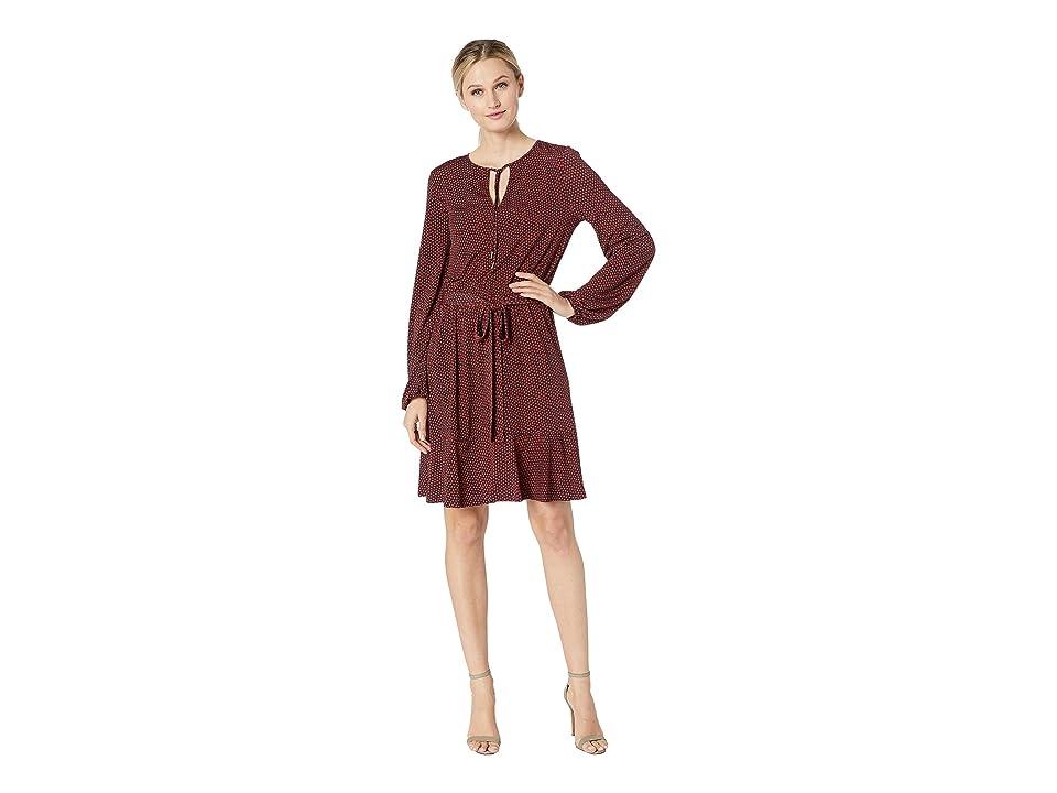 ebf4ba021d9 MICHAEL Michael Kors Bud Keyhole Blouson Dress (True Navy/Bright Terra  Cotta) Women's Dress