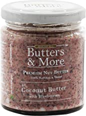Butters & More Vegan Coconut Butter with Real Blueberries (200G) No Artificial Flavours Or Colour.
