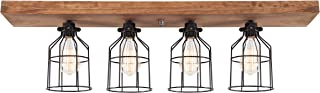 West Ninth Vintage Flush Wood Ceiling Light - Early American Stain - Black Metal Cages
