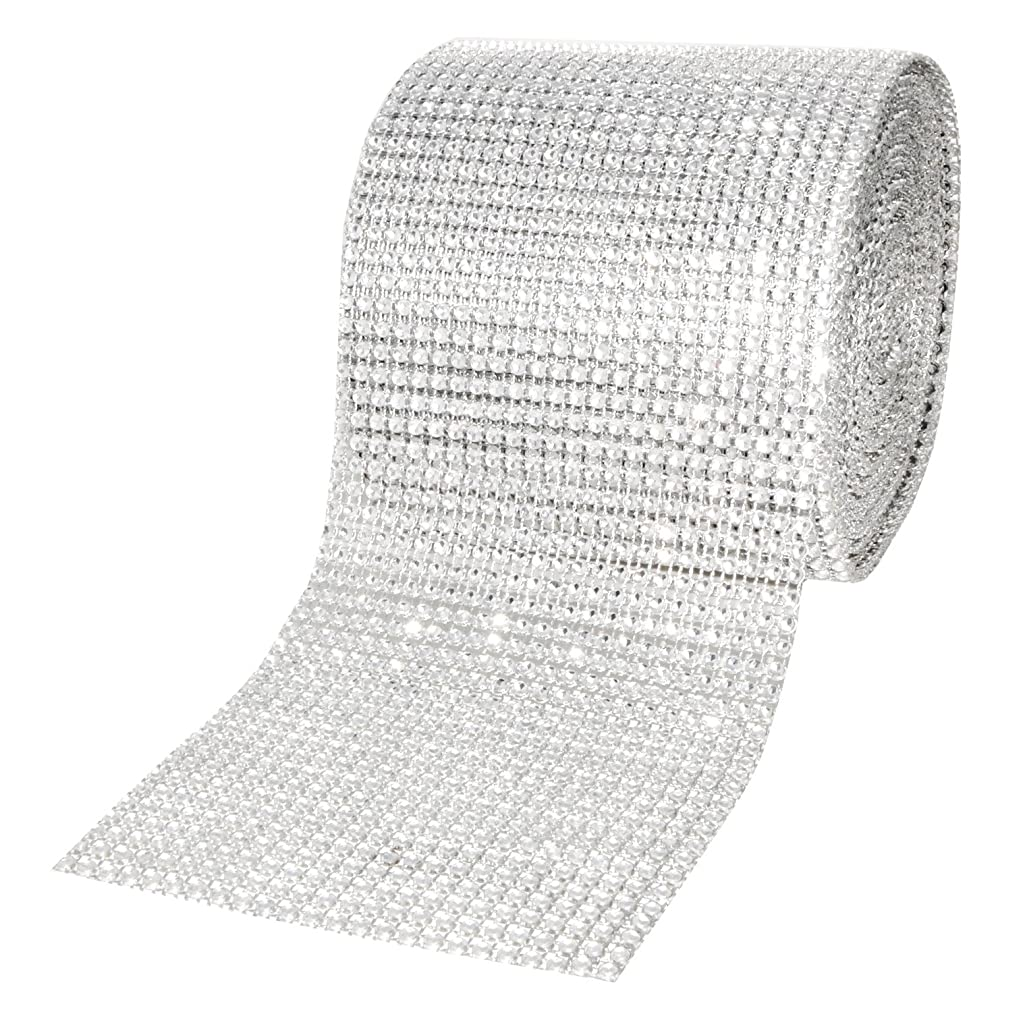 Mandala Crafts Faux Diamond Bling Wrap, Faux Rhinestone Crystal Mesh Ribbon Roll for Wedding, Party, Centerpiece, Cake, Vase Sparkling Decoration (4.75 Inches 24 Rows 10 Yards, Silver)