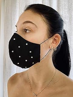 Mascherina Unisex Lavabile 100% cotone nero e strass argento