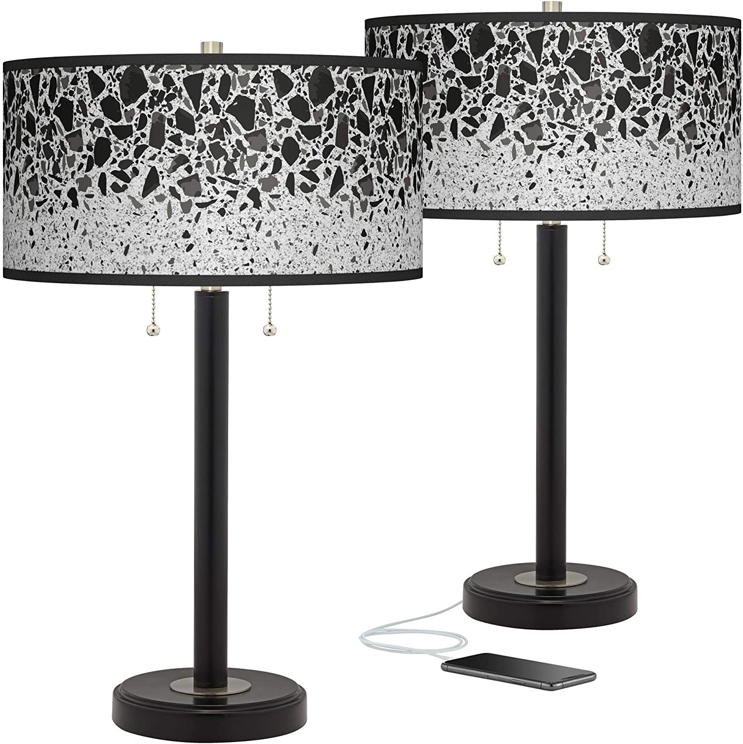 Terrazzo Arturo Black Bronze USB Table Lamps G Online limited product 2 Sales results No. 1 of Giclee Set -