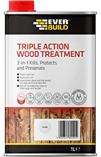 Everbuild EVBLJUN01 Triple Action (Kills, Protects and Preserves) Wood Treatment, Clear, 1 Litre