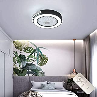 Ventilador de techo con iluminación, luz LED, velocidad de viento ajustable, mando a distancia, regulable, ultra silencioso, ventilador de luz para dormitorio [clase energética A++ ]