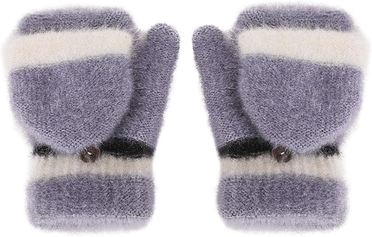 Women Girls Winter Half Finger Top Flip Gloves Faux Velvet Fingerless Mittens Thick Warm Convertible Gloves with Mitten Cover