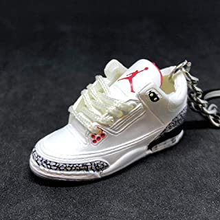 Air jordan III 3 Retro White Cement 88 OG Sneakers Shoes 3D Keychain
